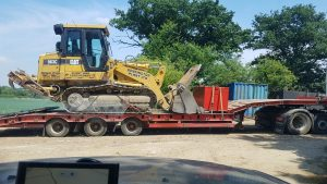963C Drott - loaded for delivery for hire at farm track clearing job, Bury St Edmunds.